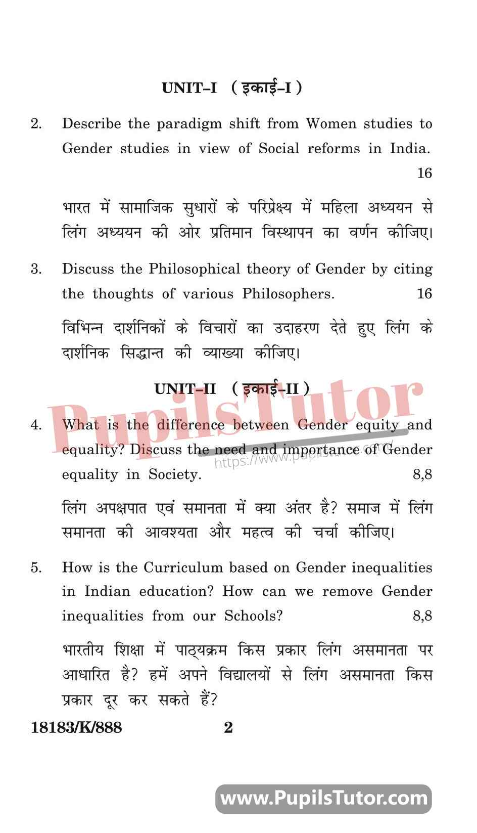 KUK (Kurukshetra University, Haryana) Gender, School And Society Question Paper 2020 For B.Ed 1st And 2nd Year And All The 4 Semesters In English And Hindi Medium Free Download PDF - Page 2 - www.pupilstutor.com