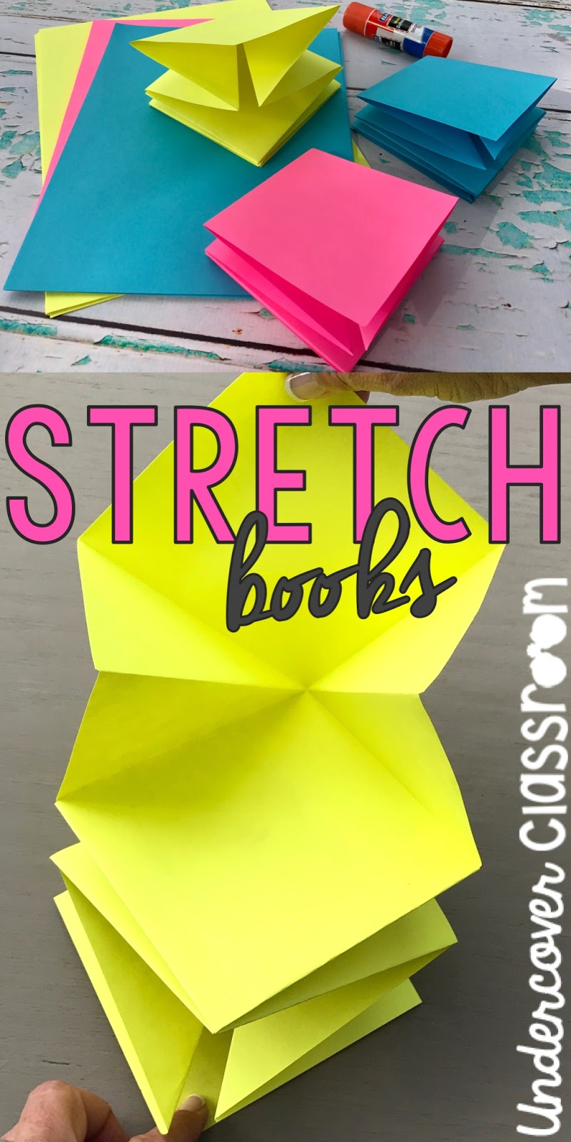 Learn how to make a stretch book from three pieces of square paper. Stretch books are highly engaging for students and can be used for a variety of classroom activities.