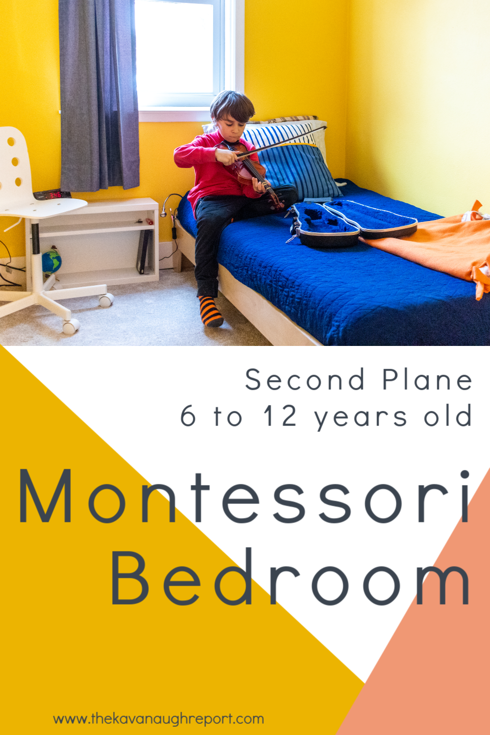 A look at a Montessori bedroom for an older child in the second plane of development. An 8-year-olds Montessori bedroom.