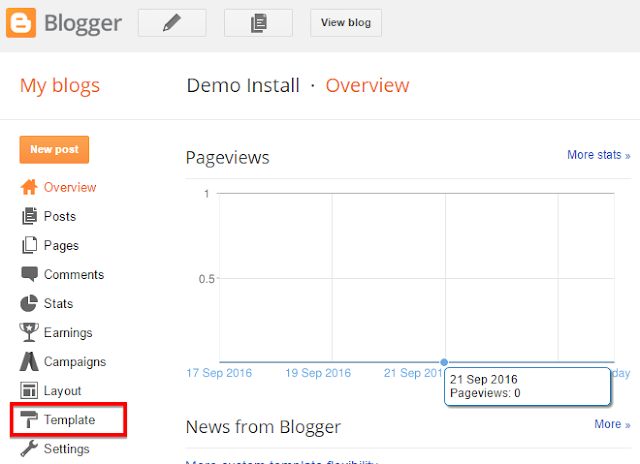 "You need to click on blogger ""template"" button to see next option"