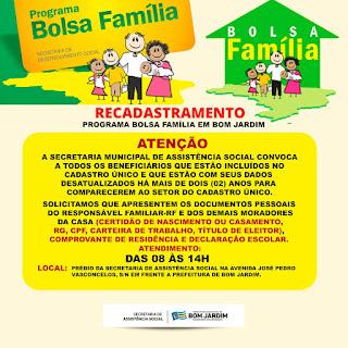 RECADASTRAMENTO 2021  DO PROGRAMA BOLSA FAMILIA EM BOM JARDIM