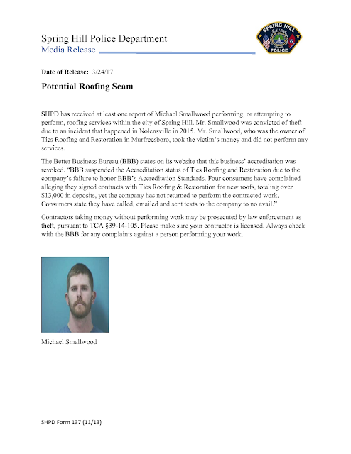 Spring Hill Police Department Media Release Potential Roofing Scam