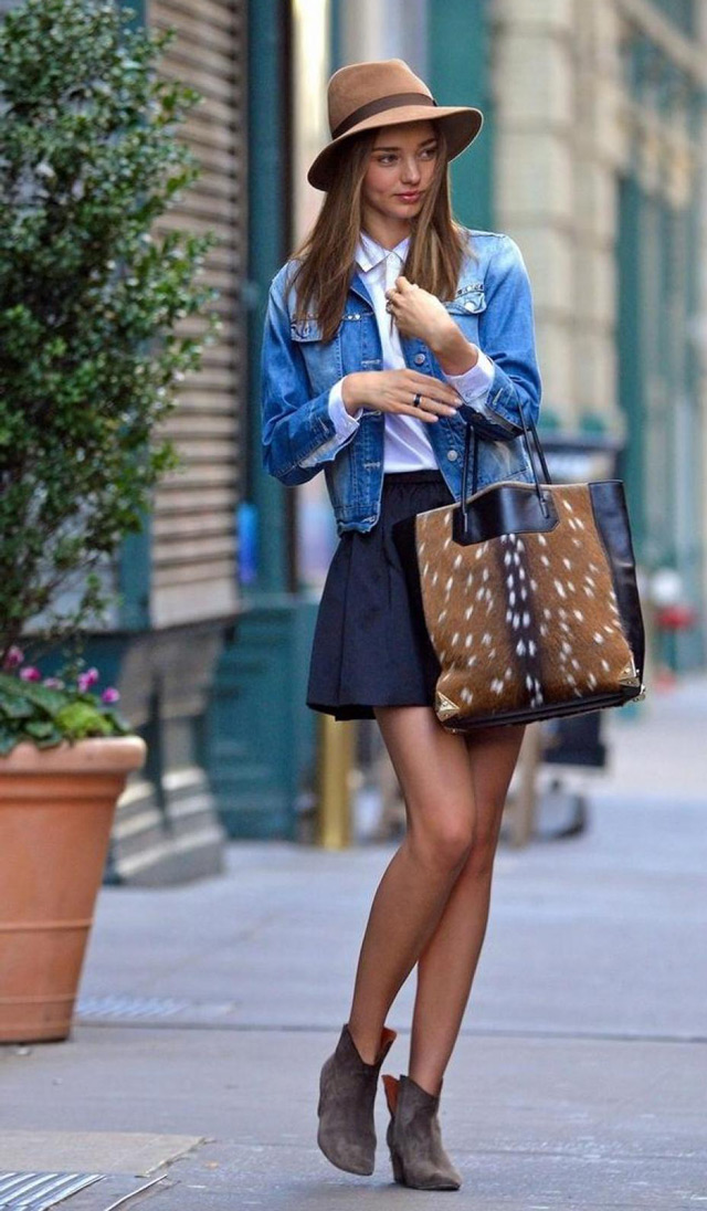 Miranda Kerr, get the look, fedora hat outfit inspiration, ankle boots and mini skirt