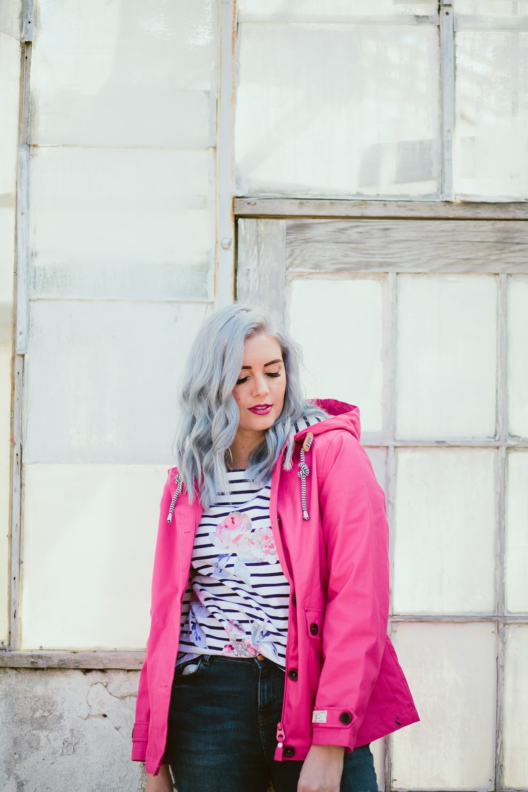 Pink Rain Jacket, Fashion Blogger, Blue Hair