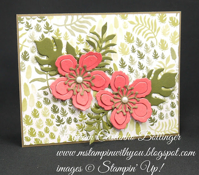 Miriam Castanho-Bollinger, #mstampinwithyou, stampin up, demonstrator, botanical builder framelits, all occasions card, ccmc, botanical gardens dsp, big shot, su