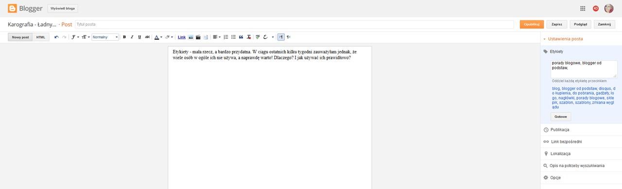 Jak w bloggerze dodawać i usuwać etykiety podczas edycji posta?