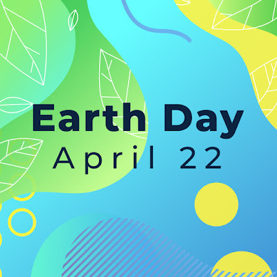 Graphic shows bright colored background with the words Earth Day in the middle of the graphic