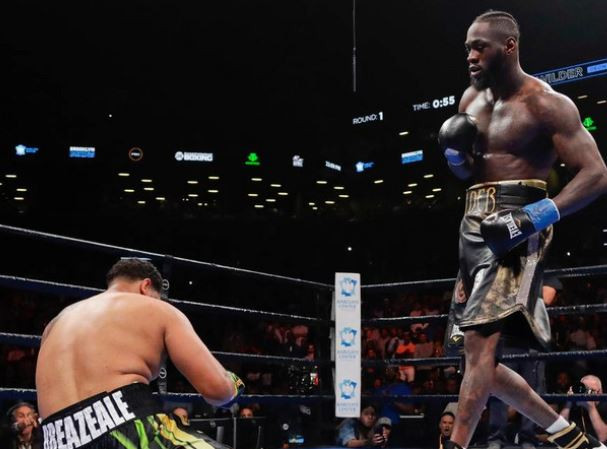 Watch moment Deontay Wilder destroyed Breazeale by blasting him with a crushing right hand that knocked him out in the first round