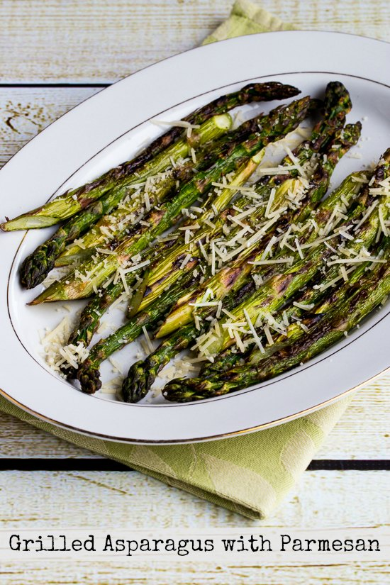 Low-Carb Grilled Asparagus with Parmesan  found on KalynsKitchen.com