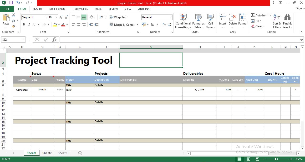 Free Project Tracking Tool Excel