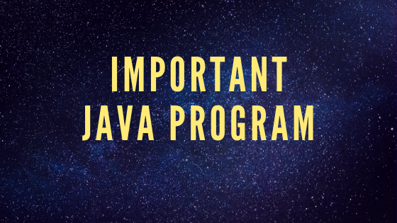Important java Program