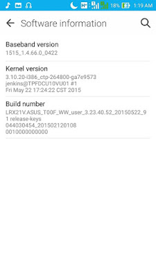 Software Information Lollipop Asus Zenfone 5