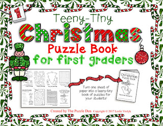 The Puzzle Den - Teeny-Tiny Christmas Puzzle Book for First Graders