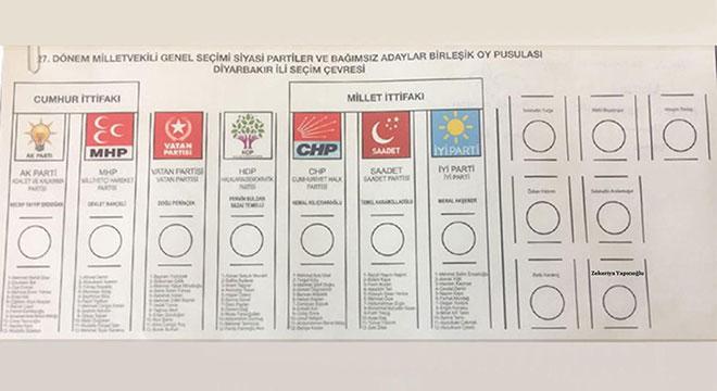 Diyarbakır'da kullanılacak oy pusulası belli oldu