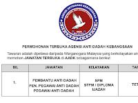 Agensi Anti Dadah Kebangsaan AADK [ Permohonan Terbuka ]