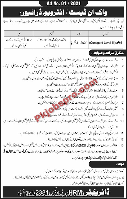Public Sector Organization PO 2381 Islamabad Jobs 2021