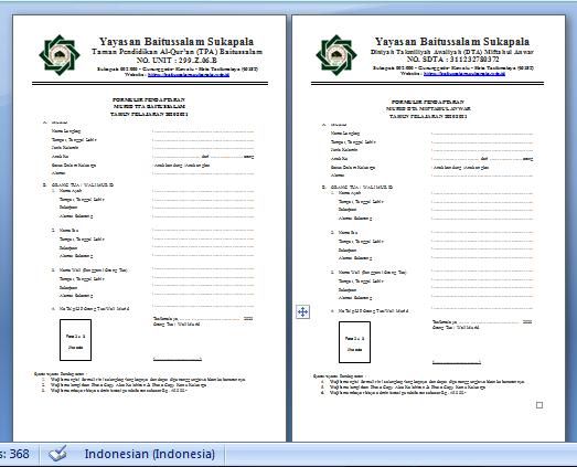 Gambar Formulir Pendaftaran Murid Baru Yayasan Baitussalam Sukapala