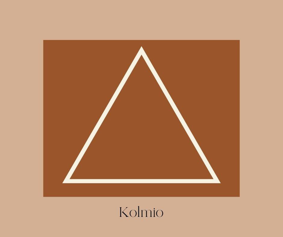 Piirretty kolmio joka on yksi sommittelumalleista