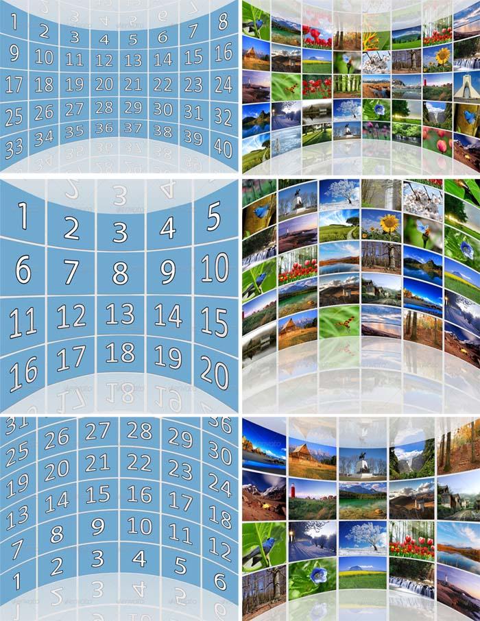 3D Circular Wall Photo Gallery PSD Templates Pack
