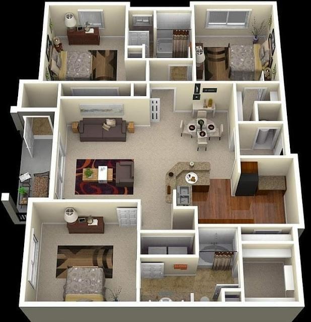 Denah Rumah Minimalis 3 Kamar dengan Dapur Besar