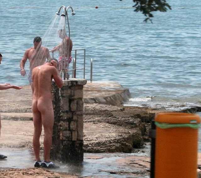Nudist beach shower