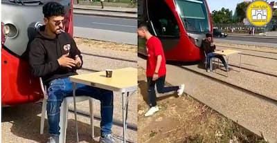 """بطل """"فيديو"""" شرب القهوة على سكة """"طرامواي يخرج بتصريح مثير.. و هذه هي العقوبة السجنية الثقيلة التي تنتظره"""