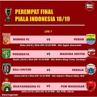 Jadwal Piala Indonesia Hari Ini Perempatfinal