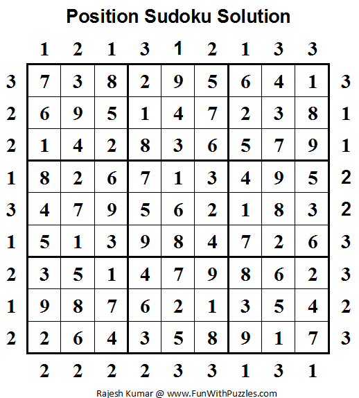Position Sudoku (Daily Sudoku League #64) Solution