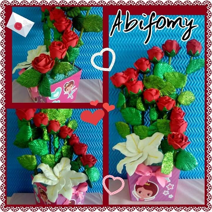 Creaciones Abifomy Arreglo Floral Con Rosas De Fomi 3d Para