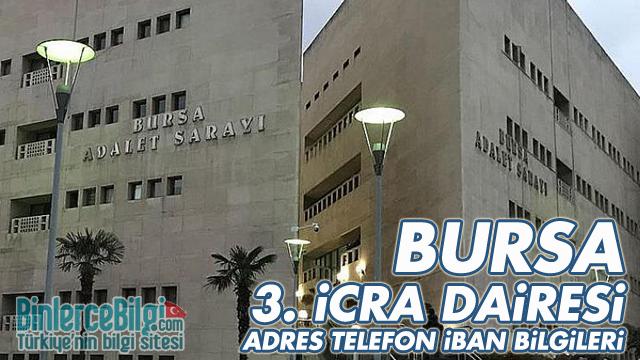Bursa 3. İcra Dairesi Adresi, Telefonu, İban Numarası