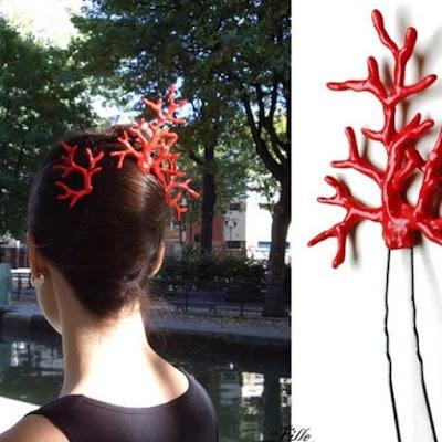 La Fill du Consul Corail rouge hairpins redcoral simili peigne cheveux