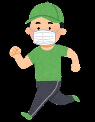 マスクを付けてジョギングする人のイラスト(男性)
