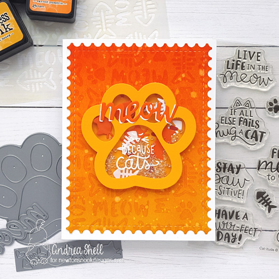 Pawprint Shaker Card by Andrea Shell | Cat-itude Stamp Set, Pawprint Shaker Die & Meow Stencil by Newton's Nook Designs #newtonsnook #handmade