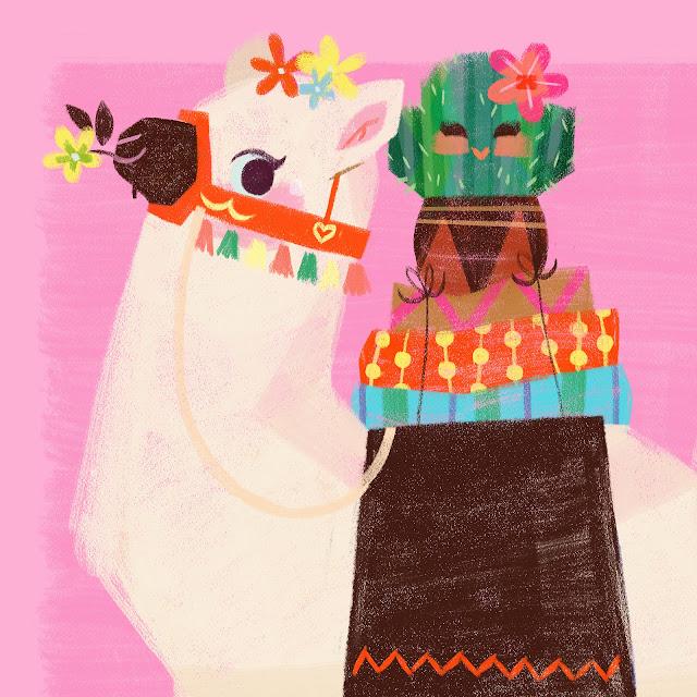 Llama birthday card pink cute cactus dazhkaclaire claire o'brien illustration