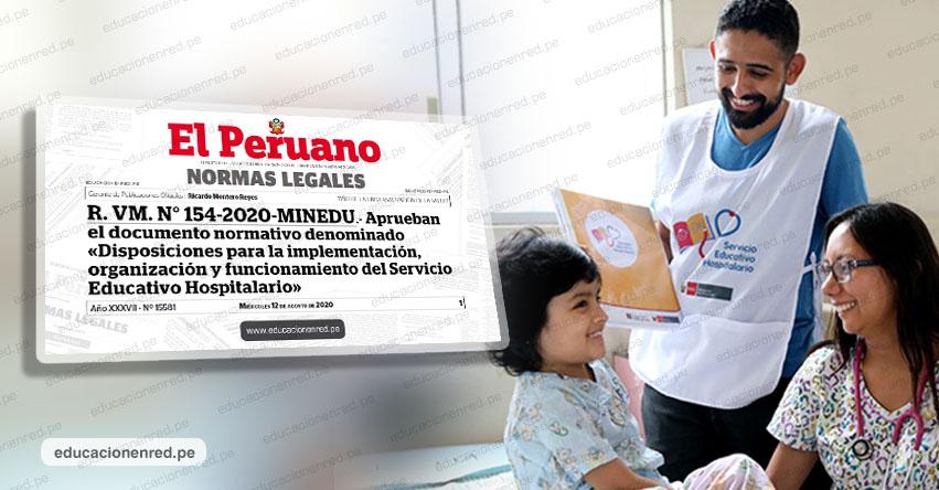 MINEDU pone en marcha Servicio Educativo Hospitalario (R. VM. N° 154-2020-MINEDU)