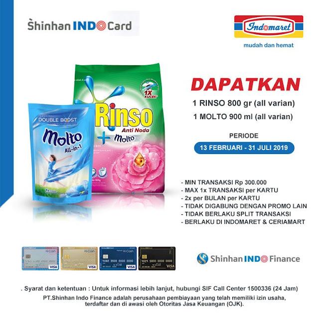 #Indomaret - #Promo Gratis 1 Rinso Atau Molto Bayar Pakai Kartu Kredit Shinhan IndoCard (s.d 31 Juli 2019)