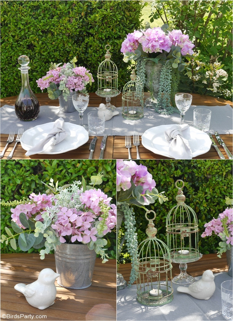 French Rustic Country Tablescape and DIY Decor using thrift store items to style a pretty table centerpiece for bridal shower, weddings or spring party! by BirdsParty.com @birdsparty #thriftflip #thriftstoredecor #frenchfarmhouse #frenchcountry #rusticcountrydecor #frenchfarmhousedecor #rusticdecor #rustictablescape #frenchtablescape