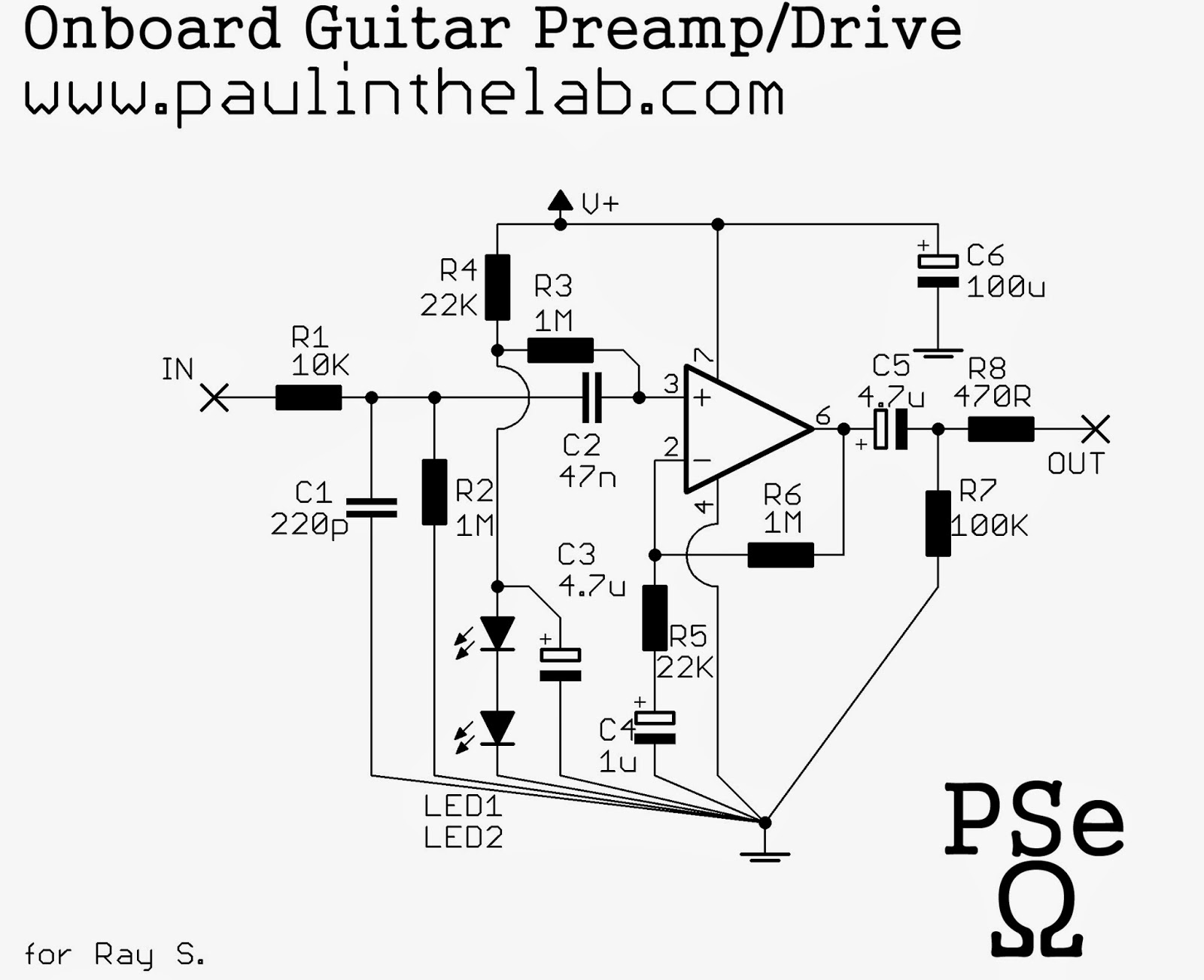 Paul In The Lab: Onboard Guitar Preamp Drive Stripboard