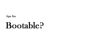Mengenal tentang apa itu Bootable?
