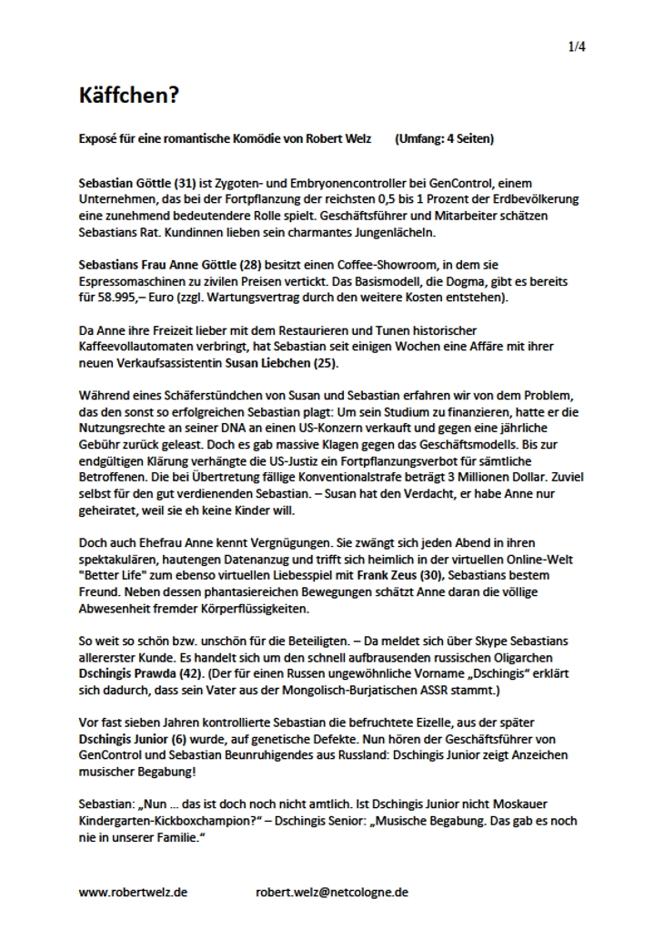 Handlungsablauf Spielfilm Exposé romantisch lustig Komödie Unterhaltung Autor Köln Pulheim