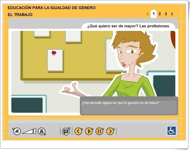 """""""El trabajo. Igualdad de género"""" (Aplicación interactiva de Ciencias Sociales)"""