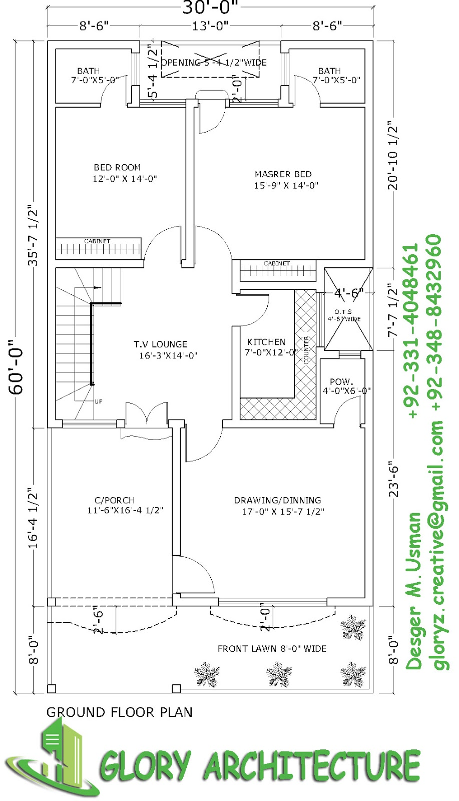 30x60 house plan,elevation,3D view, drawings, Pakistan ...