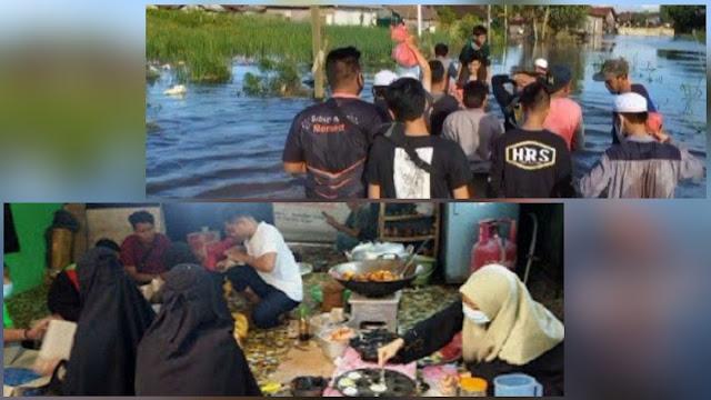 Meski Tanpa Atribut, FPI Buka Posko Dapur Umum dan Bantu Evakuasi Korban Banjir di Kalsel