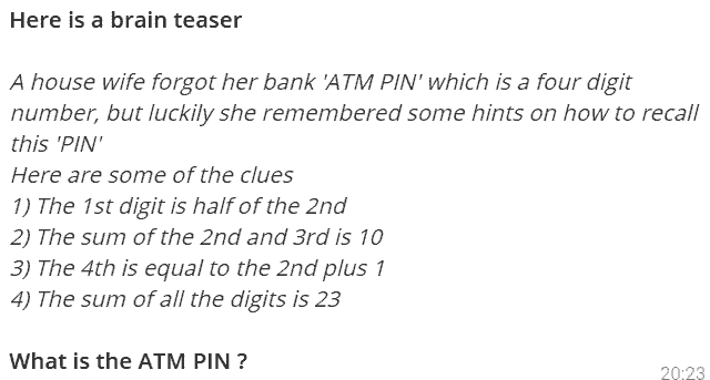 A house wife forgot her bank ATM Pin brain teaser.