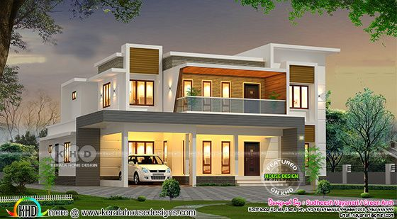 Beautiful flat roof contemporary house with show balcony