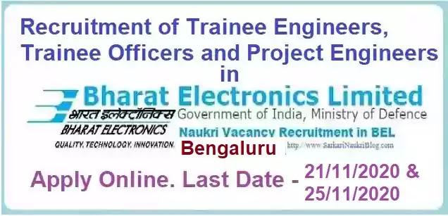 BEL Bengaluru Project Engineer Officer Vacancy Recruitment 2020