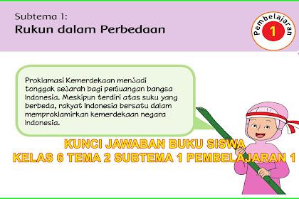 Kunci Jawaban Buku Siswa Kelas 6 Tema 2 Subtema 1 Halaman 2, 3, 4, 5, 6