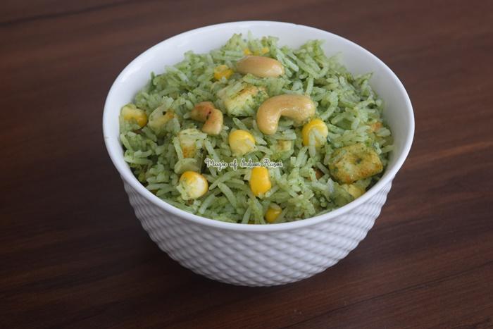 Palak Paneer Pulao Recipe - पालक पनीर पुलाओ रेसिपी - Priya R - Magic of Indian Rasoi