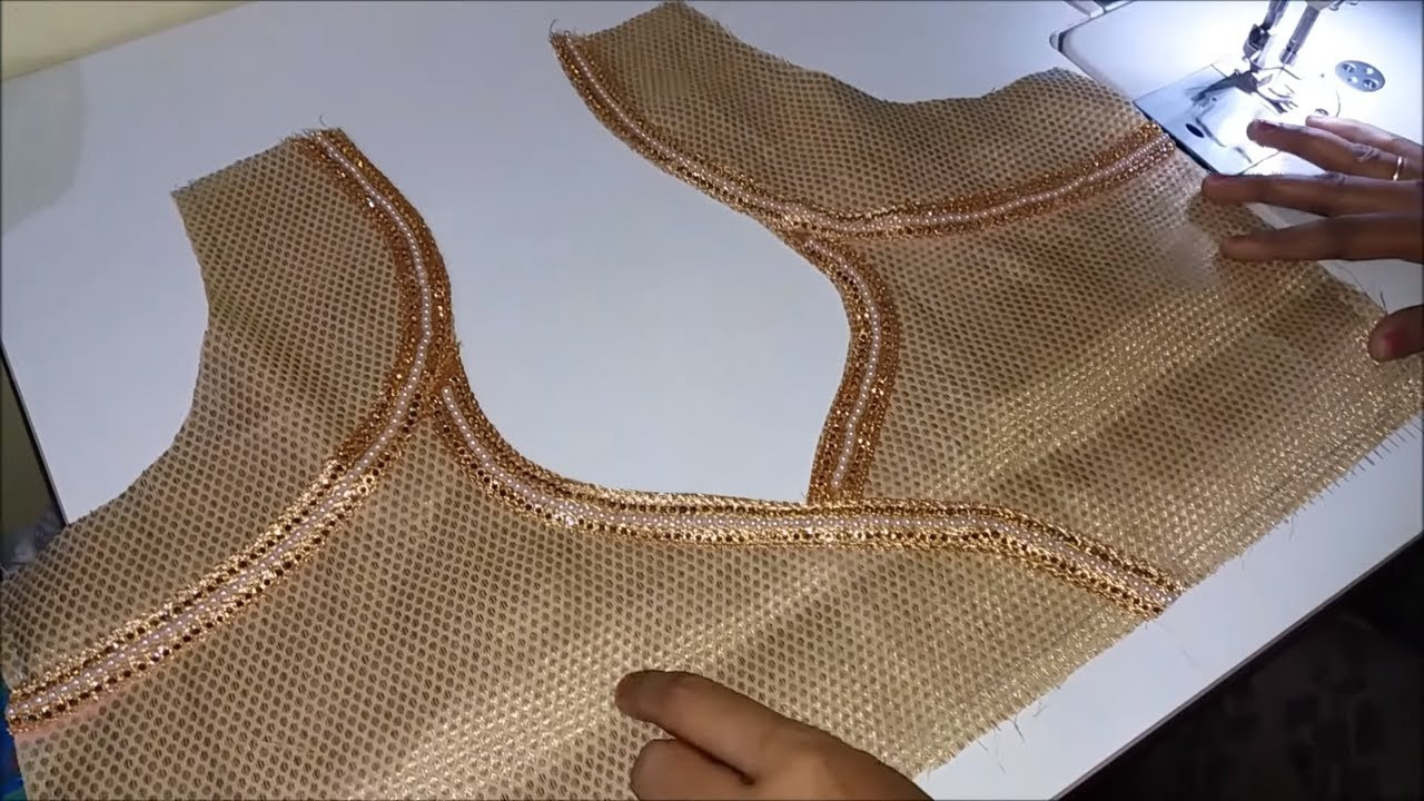 very beautiful neck design stitching with lace/blouse design