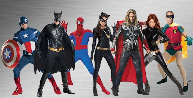 The costumes of superheroes halloween